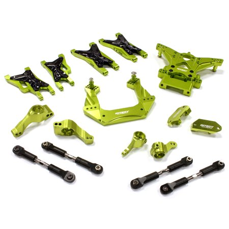 Integy RC Toy Model Hop-ups C25482GREEN Billet Machined Suspension Kit for Traxxas 1/10 Nitro Slash 2WD