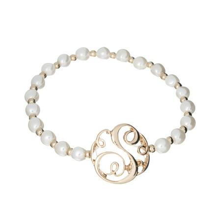 S Designer Monogram Gold-tone Imitation Pearl Stretch Bracelet