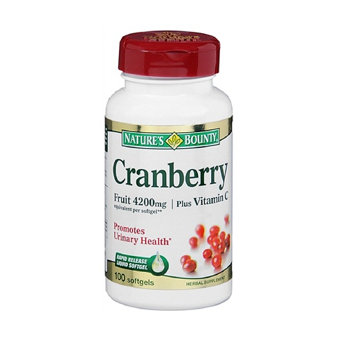 Natures Bounty Triple Strength Cranberry Fruit 4200 Mg Plus Vitamin C Softgels - 100 Ea