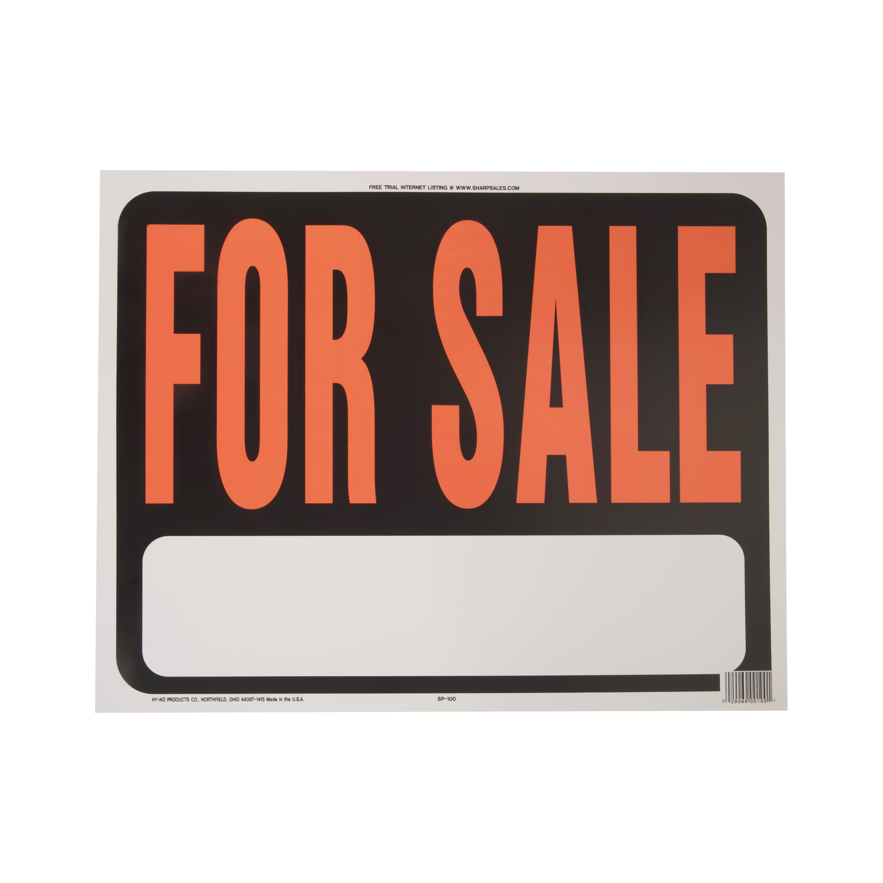 """Hy-Ko Plastic For Sale Real Estate Sign, 15"""" x 19"""""""