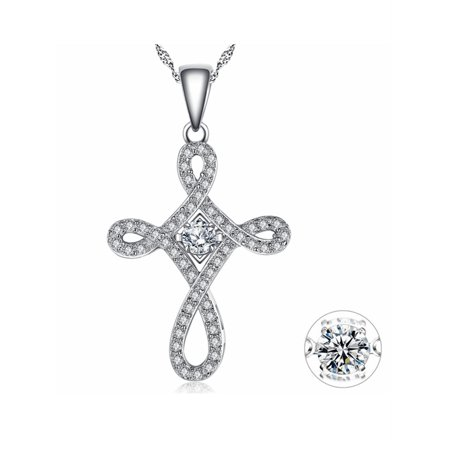 Dancing Diamond Sterling Silver Vintage Cross Shaped Round Cut 0.16 TCW Dancing CZ in Motion Pendant Necklance with free 18 Chain