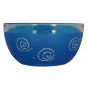 """Set of 2 Dark Blue and White Curls and Dots Hand Painted Glass Serving Bowls 6"""""""
