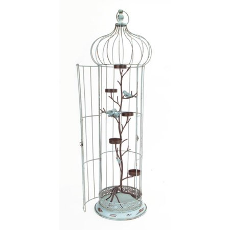 """36"""" New Romance Distressed Blue Tea Light Candle Holder Bird Cage with Bird Accents"""