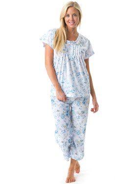 Casual Nights Women's Short Sleeve Embroidered Floral Capri Pajama Set
