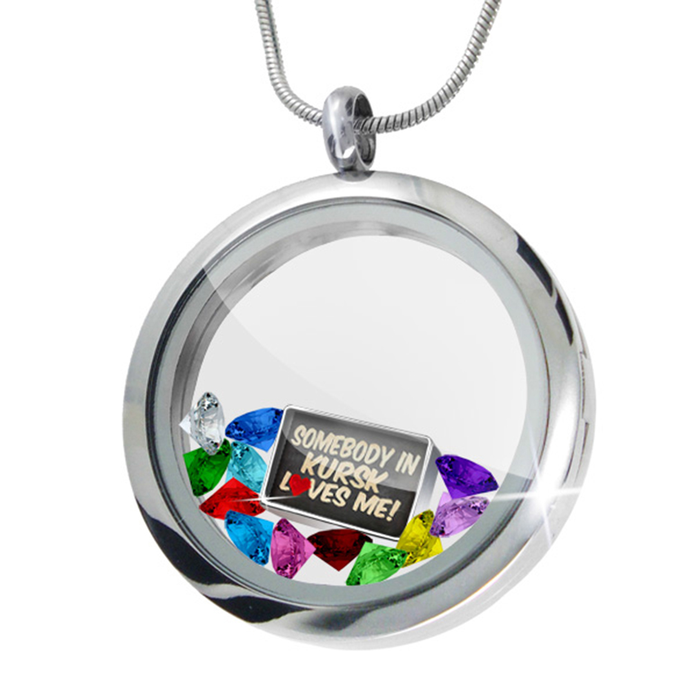 Floating Locket Set Somebody in Kursk Loves me, Russia - NEONBLOND