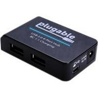Plugable USB Hub with Charging- USB 2.0, 4-Port, 12.5W