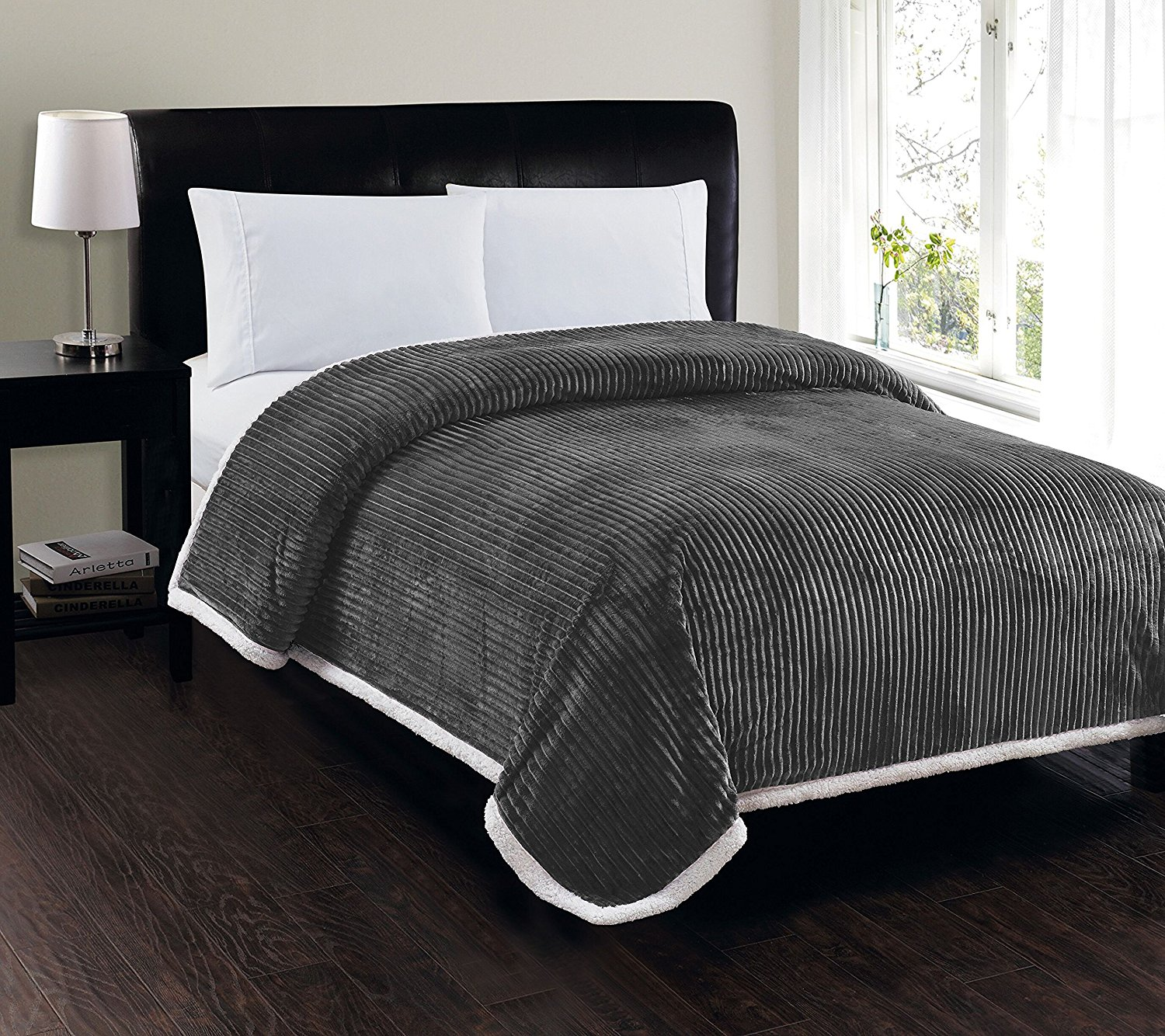 queen bed blanket Soft Plush Reversible Corduroy / Sherpa Lined Oversized Bed  queen bed blanket