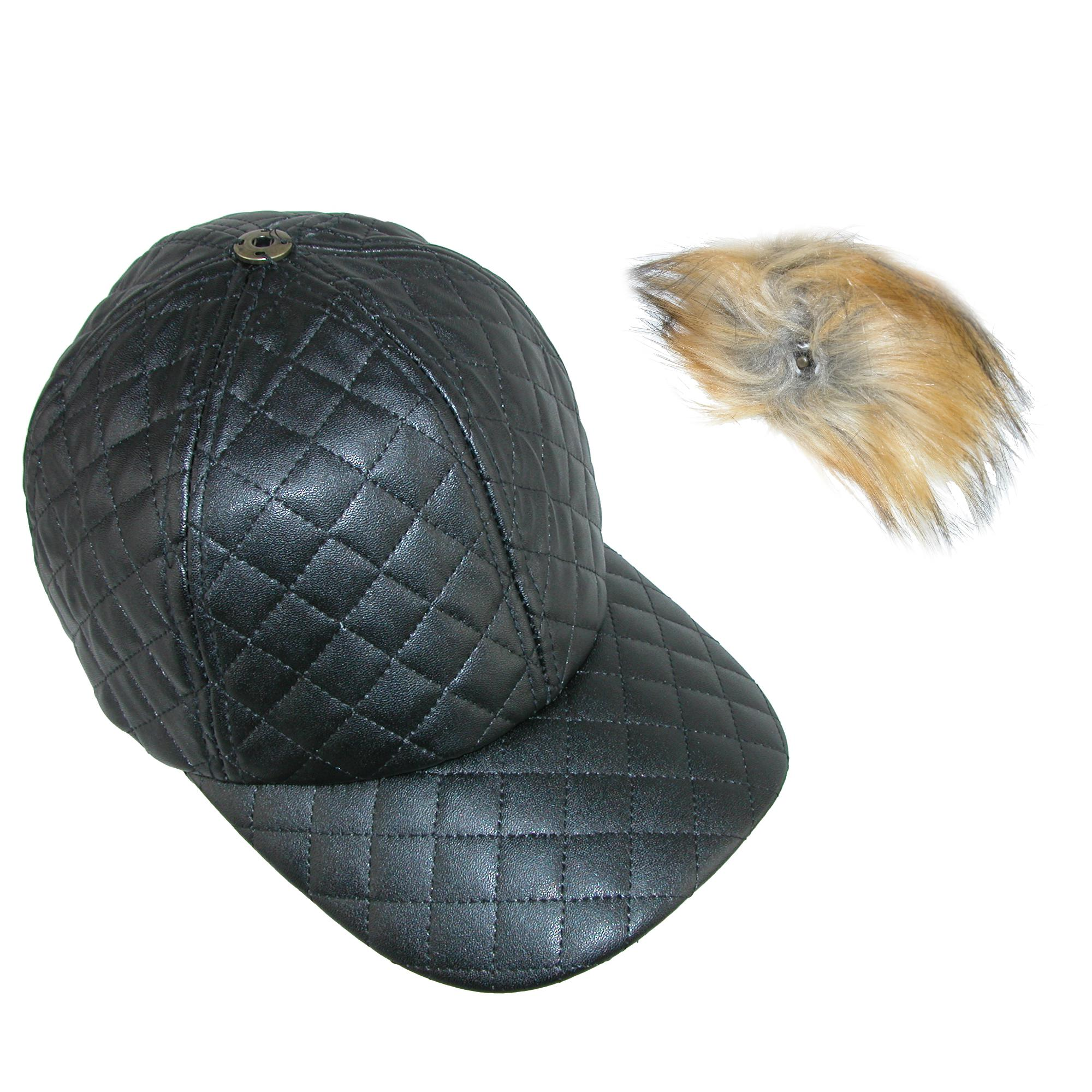Pia Rossini Women's Quilted PU Cap with Faux Fur Detachable Pom Pom - image 1 of 4