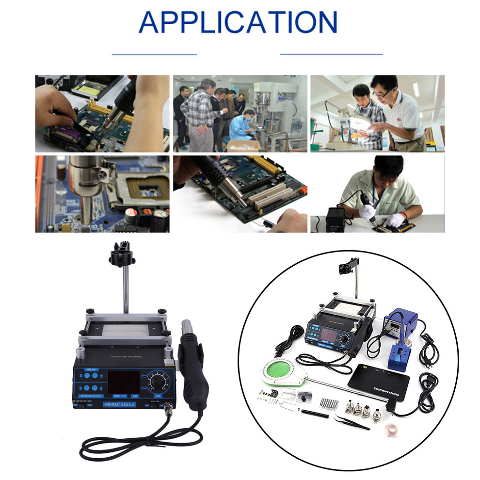 3 In 1 Soldering Iron Station Hot Air Preheating Rework Soldering Station Solder Iron For Welding Repair... by SUNRAIN