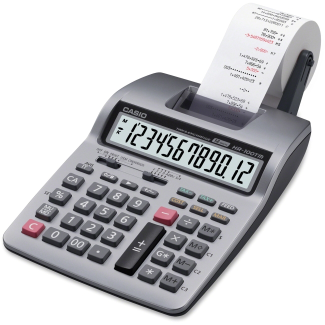 "Casio Printing Calculator - 2 - 4-Key Memory, Key Rollover, Double Zero, Auto Power Off, Dual Power - Battery/Power Adapter Powered - 2.6"" x 6.5"" x 11.2"" x 12.9"" - Silver - Plastic - 1 Each"
