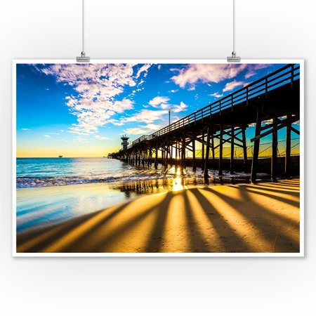Seal Beach Pier at Sunset - Image Only - Lantern Press Photography (9x12 Art Print, Wall Decor Travel Poster) (Halloween Home Decor Pier One)