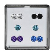 Surgical Steel and Silvertone Multicolor 8-mm Cubic Zirconia Stud 5-pair Earring Set