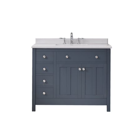 OVE Decors Newcastle 42 in. Dark Charcoal Single Sink Bathroom Vanity with Yves Cultured Marble Top Marble Bathroom Sink
