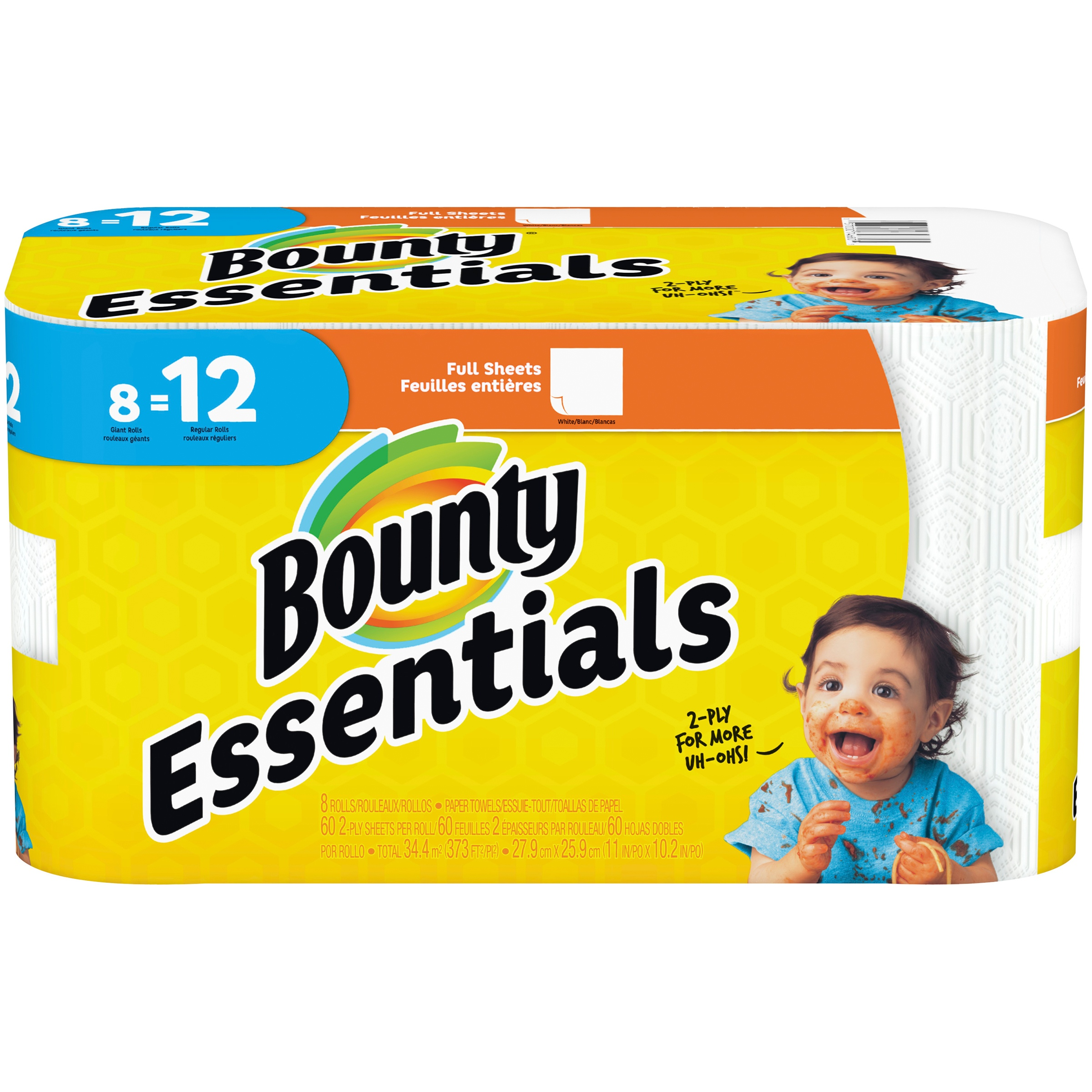 Bounty Essentials Paper Towels, Full Sheet, 8 Giant Rolls