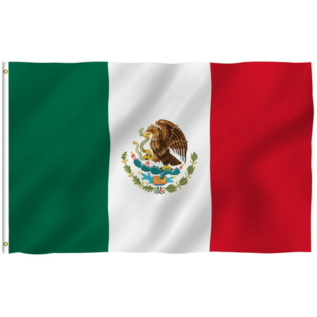 ANLEY [Fly Breeze] 3x5 Feet Mexican Flag - Vivid Color and UV Fade Resistant - Canvas Header and Brass Grommets - Mexico MX Banner Flags