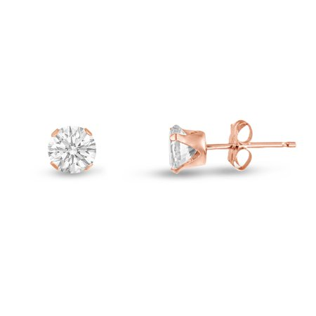 Round 2mm Rose Gold Plated Sterling Silver White CZ Stud Earrings, Free Gift Box included Gold Plated Round Stud