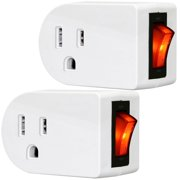 Grounded Outlet Adapter, ANKO ETL Listed Wall Tap Adapter with Red Indicator On/Off Power Switch (2 PACK)