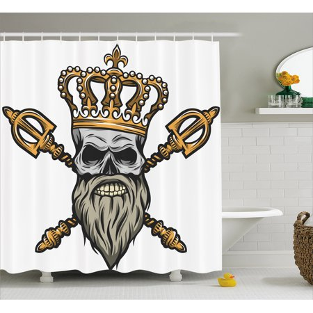 Kings Scepter (King Shower Curtain, Ruler Skull Head with Gray Beard Crossed Royal Scepter Cartoon Seemed Image, Fabric Bathroom Set with Hooks, 69W X 84L Inches Extra Long, Golden and Light Grey,)