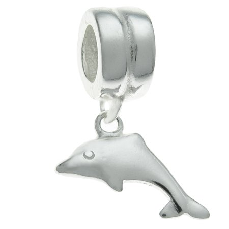 Styled Dolphin Charm (Queenberry Sterling Silver Dancing  Dolphin European Style Dangle Bead Charm Fits)