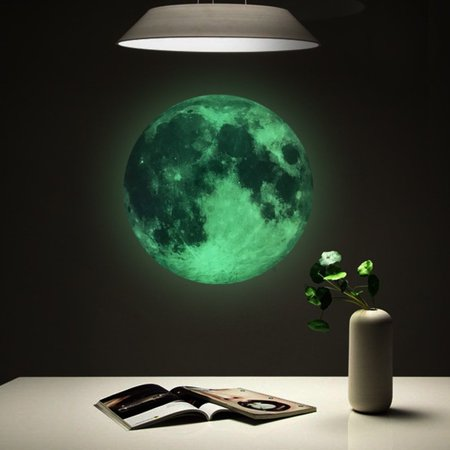 Fluorescent Wall Sticker,Moon Glow in the Dark Wall or Ceiling Stickers – Planet Decal Solar System Decor for Kids