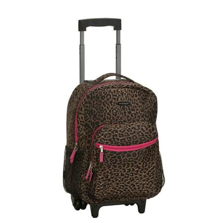 Rockland 17u0022 Roadster Rolling Backpack - Pink Leopard