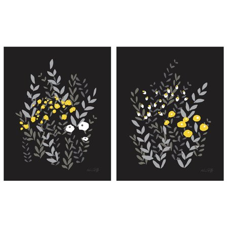 Bella Garden | Modern Black Grey and Yellow Flower Prints; Floral Decor; Two 11x14in Unframed Poster Prints