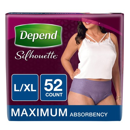 15f586cae325ff Depend Silhouette Incontinence Briefs for Women, Maximum Absorbency, L/XL, 2  Pack, 52 Total - Walmart.com