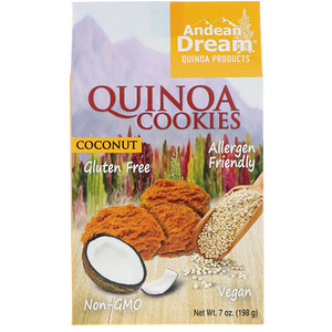 Andean Dream, Quinoa Cookies, Coconut, 7 oz (pack of 2)
