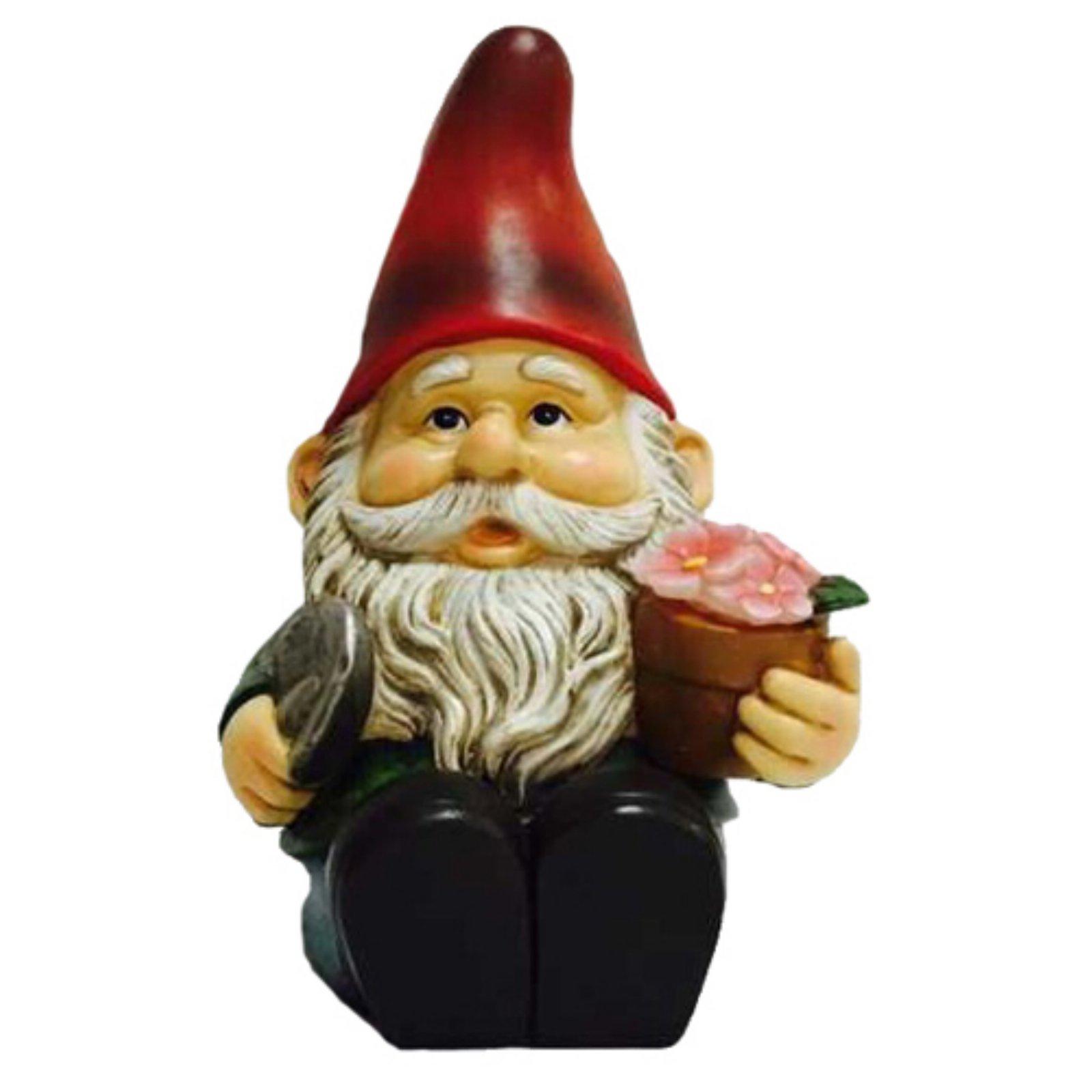 Hi-Line Gnome Sitting with Shovel and Glowing Flowers Solar LED by Hi-Line Gift Ltd.