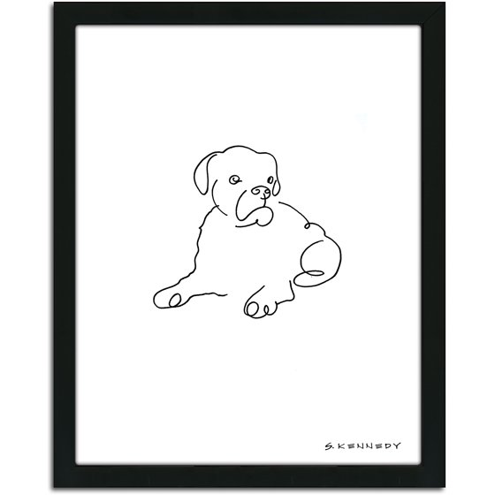 Line Drawing Of A Boxer Dog : Personal prints boxer dog line drawing framed art