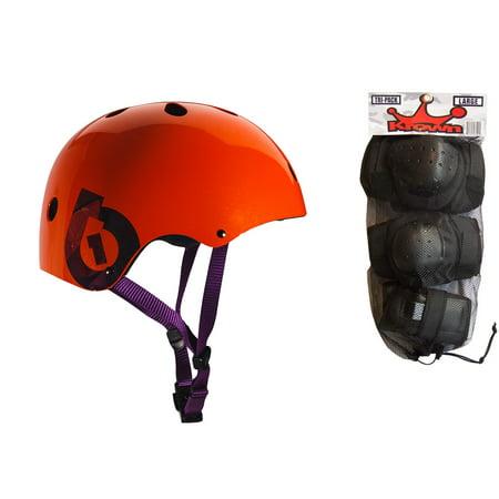 661 Dirt Lid Helmet - 661 Dirt Lid Plus Skate BMX Helmet Orange CPSC + Knee Elbow Wrist Pads Medium