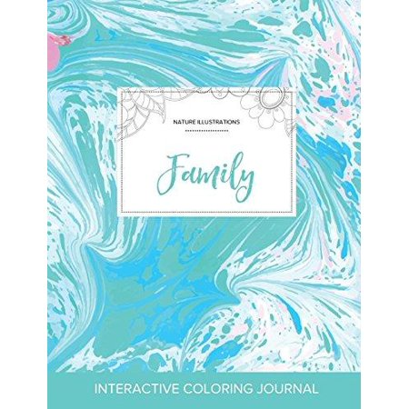 Adult Coloring Journal: Family (Nature Illustrations, Turquoise Marble) - image 1 de 1