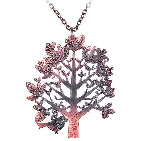 Special Copper Tone Tree Leaves Forest Green Birds Costume Necklace