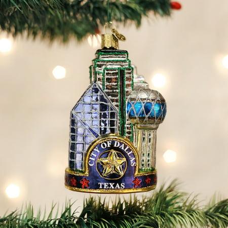 Old World Christmas City of Dallas Texas Glass Tree Ornament 20084 FREE BOX New ()