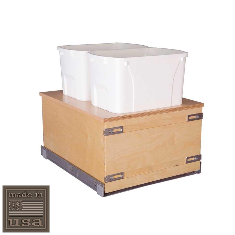 "Century Components CASBM17PF Kitchen Pull Out Waste Bin Container - (2) 34 Qt White - Blum Soft-Close 170 lb. MOVENTO 769 Slides, 17-7/8"""