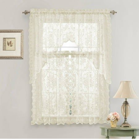 Country Chic Complete Floral Lace Kitchen Curtain Tier & Swag Valance Set - Beige ()