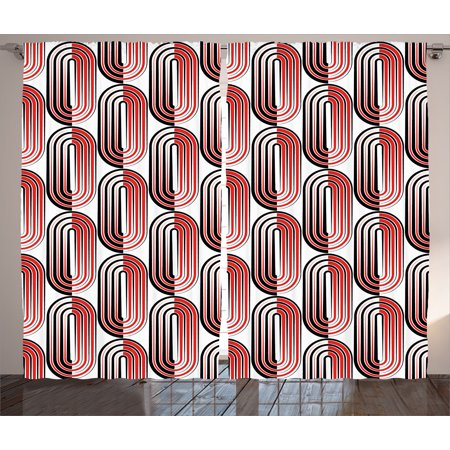 Focal Point Panel - Modern Art Home Decor Curtains 2 Panels Set, Ellipse Curves Surrounded by Focal Points Mathematical Modern Motif, Window Drapes for Living Room Bedroom, 108W X 84L Inches, Red Black, by Ambesonne