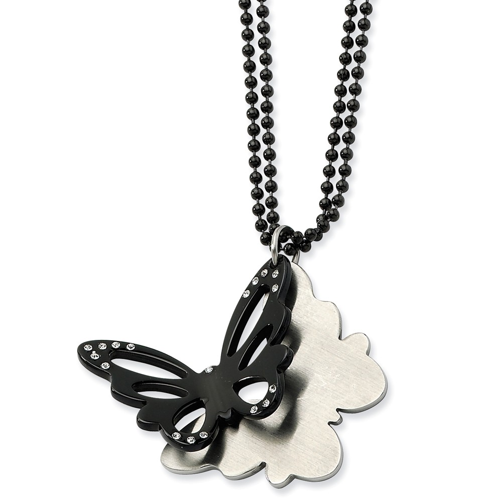 IceCarats Stainless Steel Black Plated Butterfly Czs 24 Inch Chain Necklace  Animals/insect  Fashion Jewelry Gift Set For Women Heart