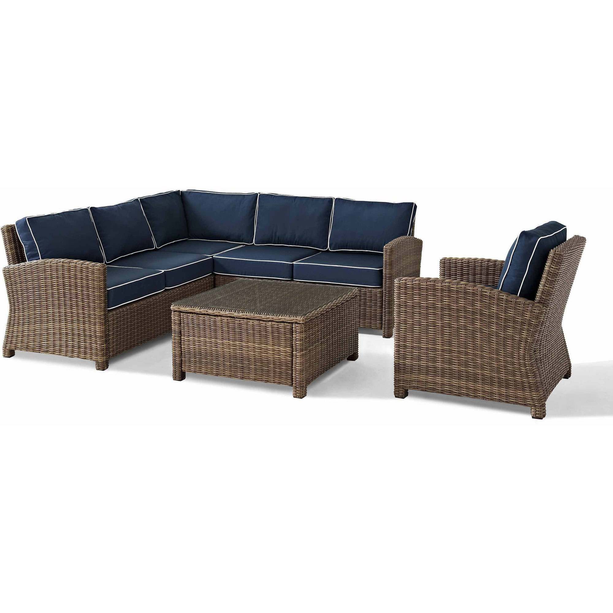 crosley furniture bradenton 5piece outdoor wicker seating set with navy cushions right corner loveseat left corner loveseat corner chair arm chair