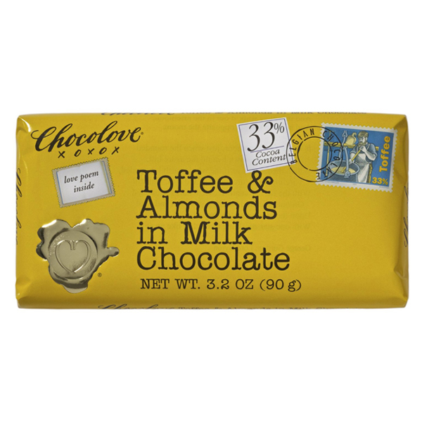 Chocolove XOXOX Toffee and Almonds in Milk Chocolate 3.2 Oz Pack of 12 by