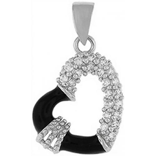 Doma Jewellery DJS03239 Sterling Silver (Rhodium Plated) Heart Pendant with CZ