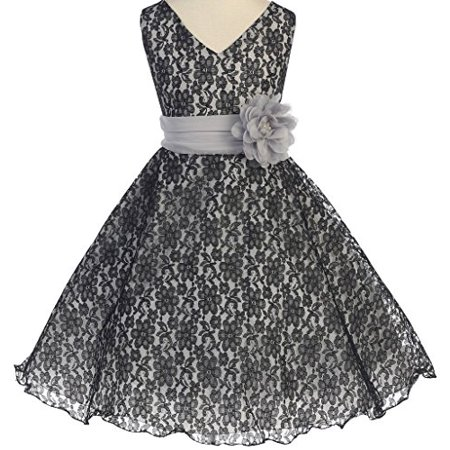 Big Girls' V Neck All Over Lace Chiffon Belt Flowers Girls Dresses Black 10 - Flowers For Dresses