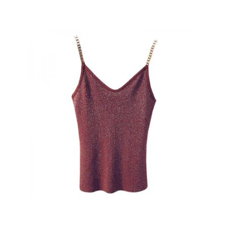 - Nicesee Women Bright Silk Knit Tank Sleeveless Vest Gold Chain Straps