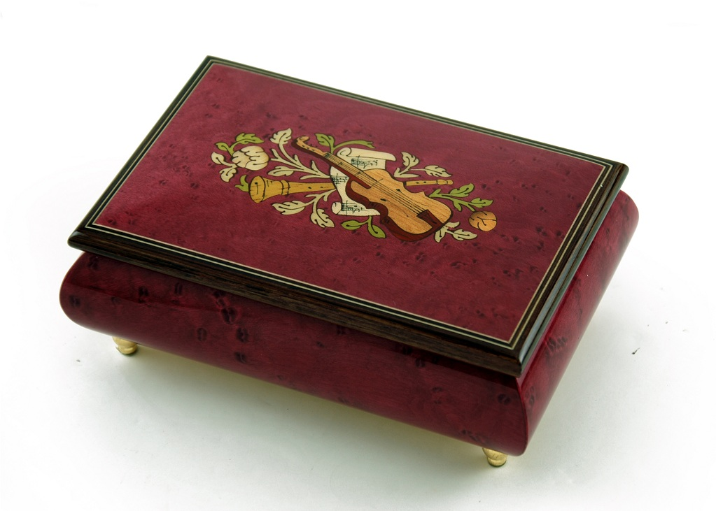 Click here to buy Astonishing Handcrafted 30 Note Red Wine Musical Instrument Theme Wood Inlay Music Box by MusicBoxAttic.