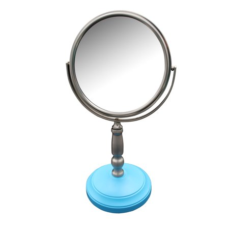 Elegant Home Fashions Dexter Freestanding Bath Magnifying Makeup Mirror with Deep Sea Blue Base and Daisy (Pedestal Makeup Mirror)