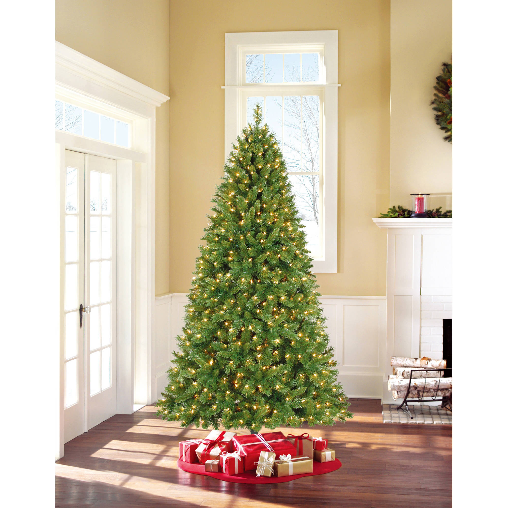 costway 8 ft pre lit artificial christmas tree w450 led lights stand holiday season walmartcom - Artificial Christmas Trees