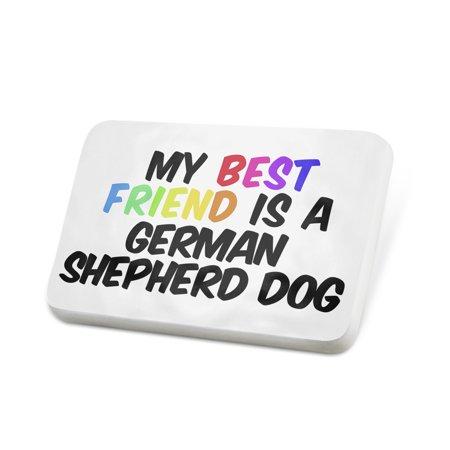 Porcelein Pin My best Friend a German Shepherd Dog from Germany Lapel Badge –