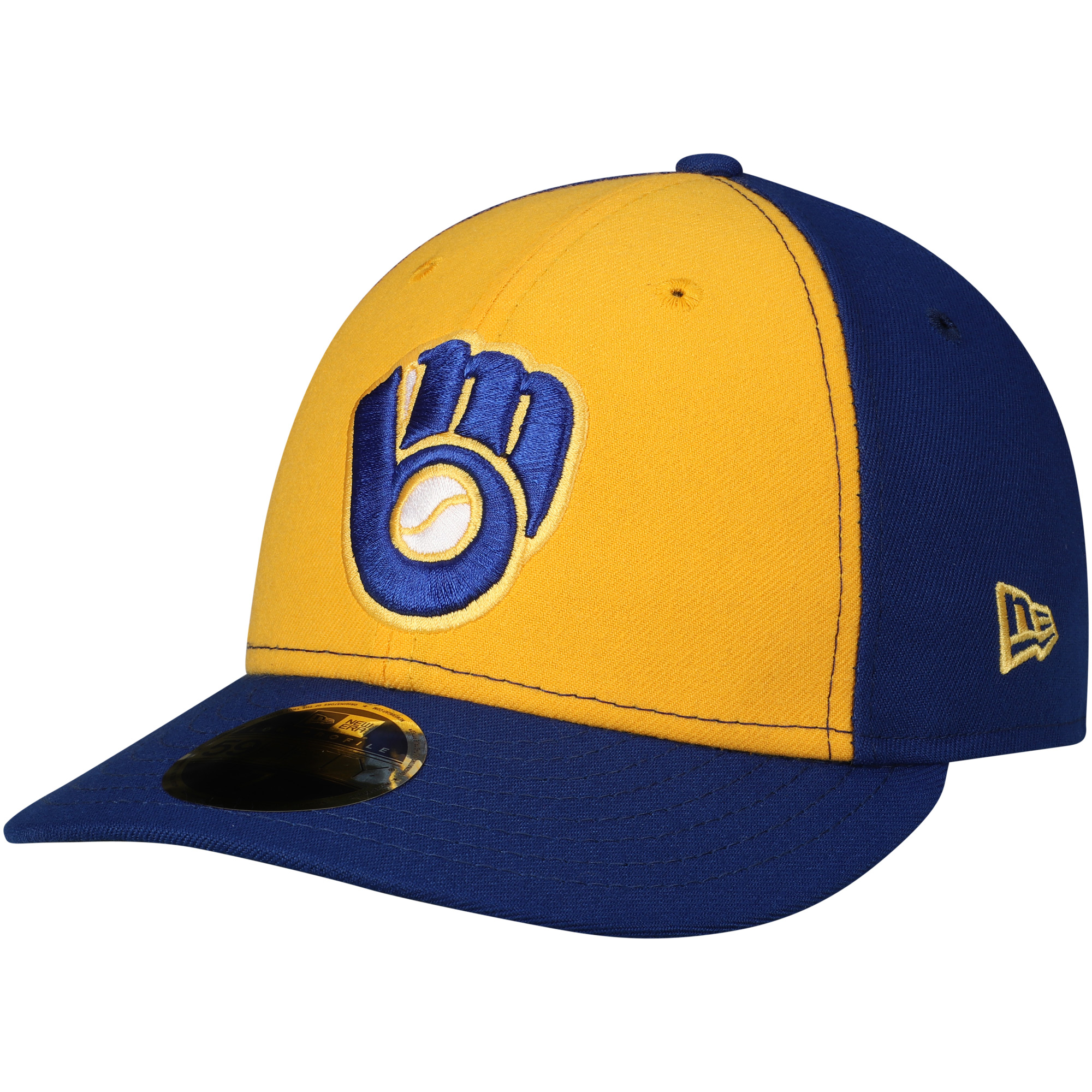 Milwaukee Brewers New Era Turn Back the Clock Low Profile 59FIFTY Fitted Hat - Gold/Royal