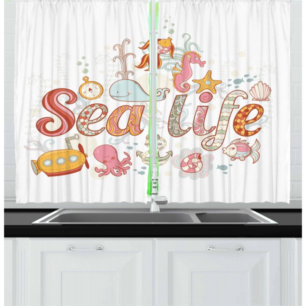 Toddler Curtains 2 Panels Set Sea Life Theme Underwater Wildlife Creatures Animals Cute Cartoon Style Fantasy Window Drapes For Living Room Bedroom 55w X 39l Inches Multicolor By Ambesonne Walmart Com