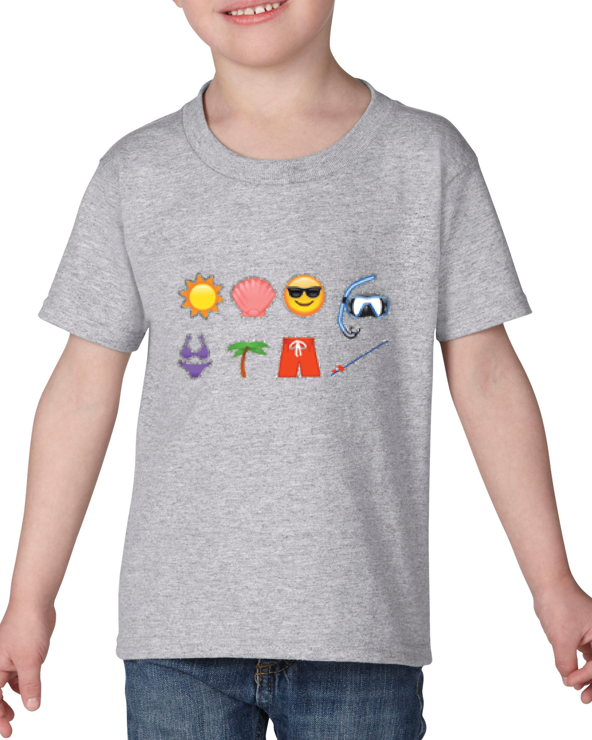 Artix Emojis Beach / Sea Items Emojis Beach Sea Items  Christmas Birthday Gift Match W Hats Bags Jeans Leggings Heavy Cotton Toddler Kids T-Shirt Tee Clothing